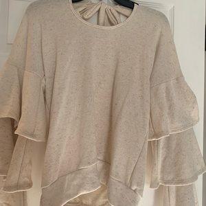 Ivory Ruffled Long Sleeve Sweater
